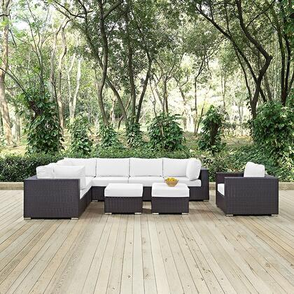 Convene EEI2208EXPWHISET 9 PC Patio Sectional Set with 3 Corner Chairs + 3 Armless Chairs + 2 Ottomans + Armchair in Espresso and White