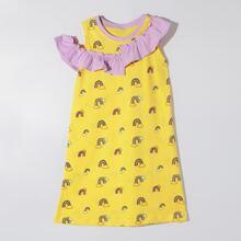 Toddler Girls Cartoon Graphic Ruffle Nightdress