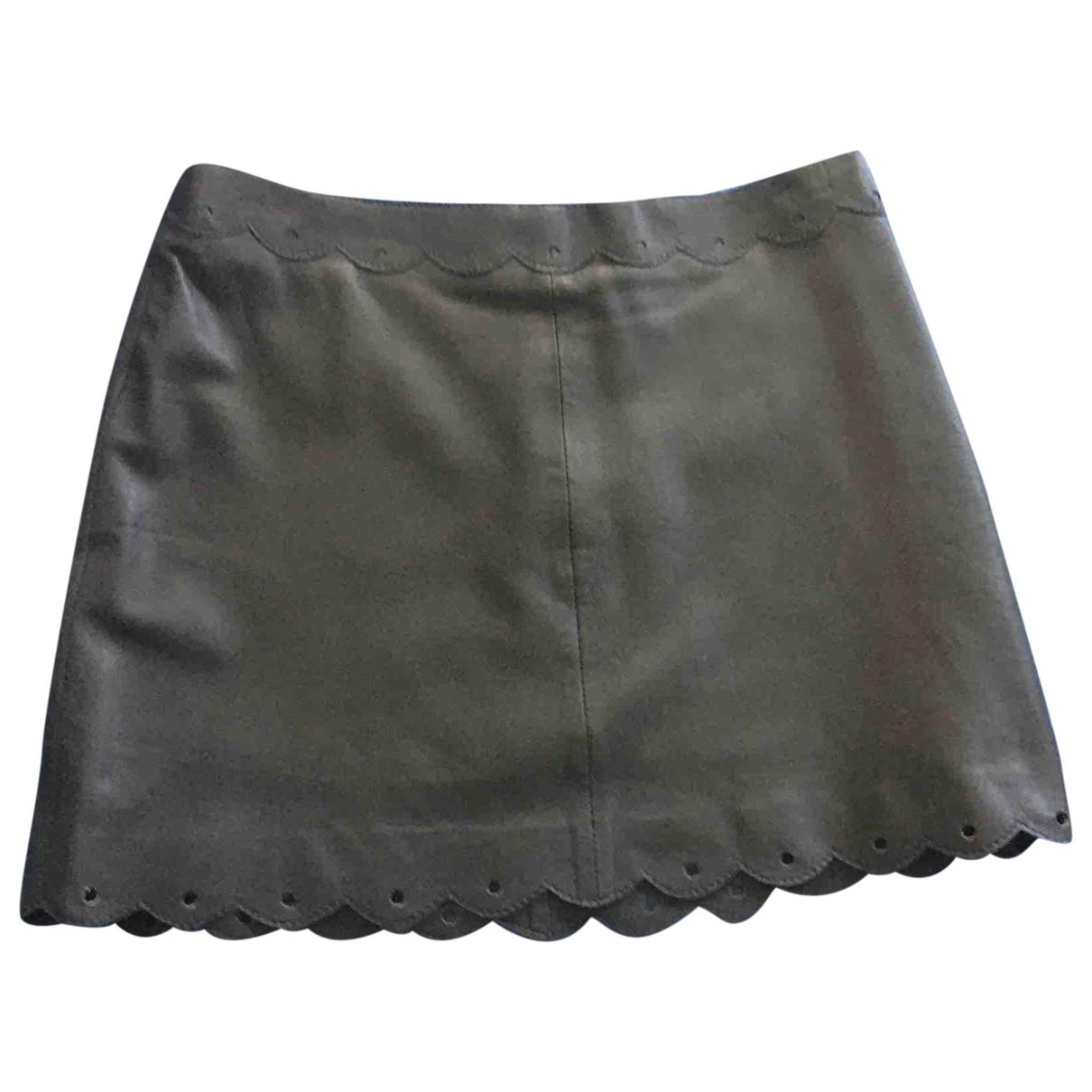 - Jupe   pour femme en cuir - gris