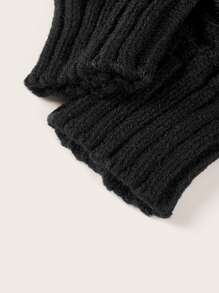 1pair Fluffy Trim Knitted Gloves