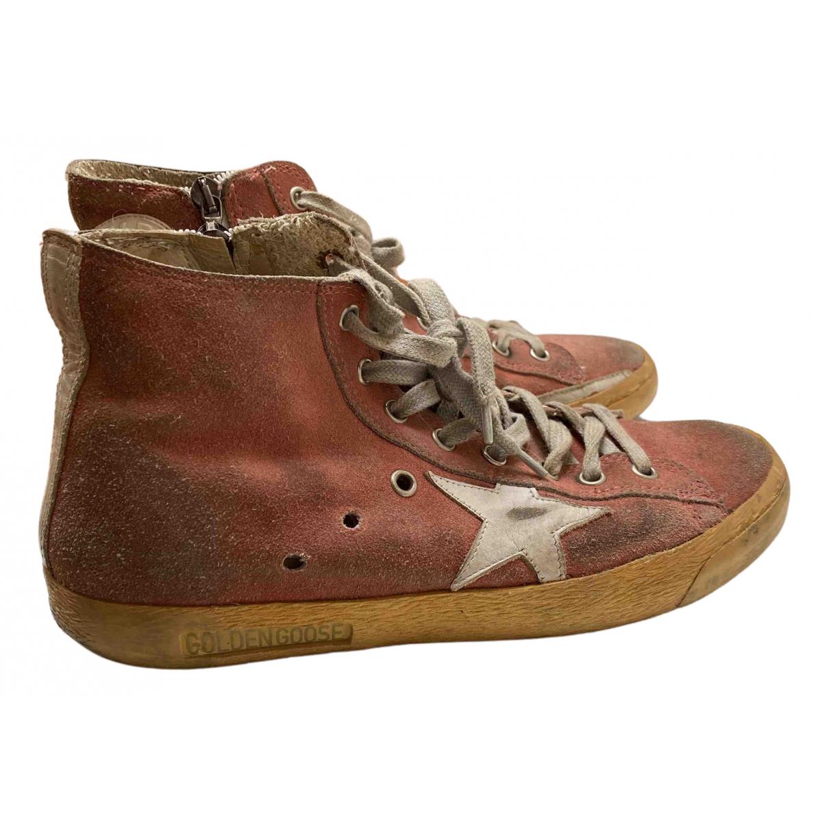 Golden Goose Francy Sneakers in  Rot Veloursleder