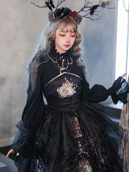 Milanoo Gothic Lolita Blouses Black Lolita Top Long Sleeves Lace Lolita Shirt