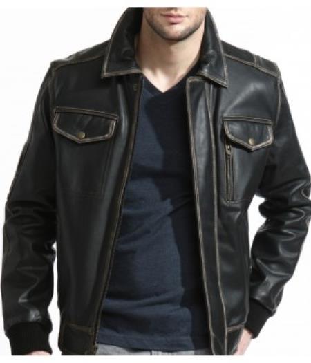 Mens Slim Distressed Leather Bomber Jacket Black