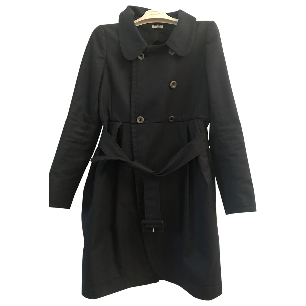 Miu Miu \N Blue Cotton Trench coat for Women 40 IT