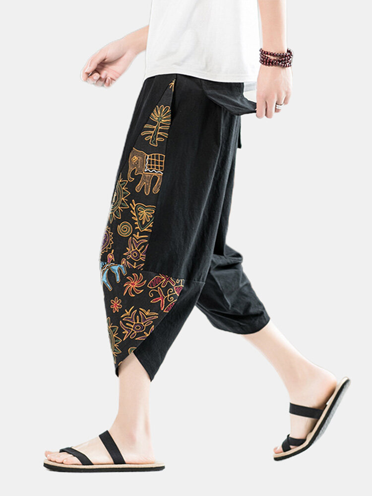 Mens Ethnic Style Print Casual Loose Elastic Drawstring Waist Harem Pants