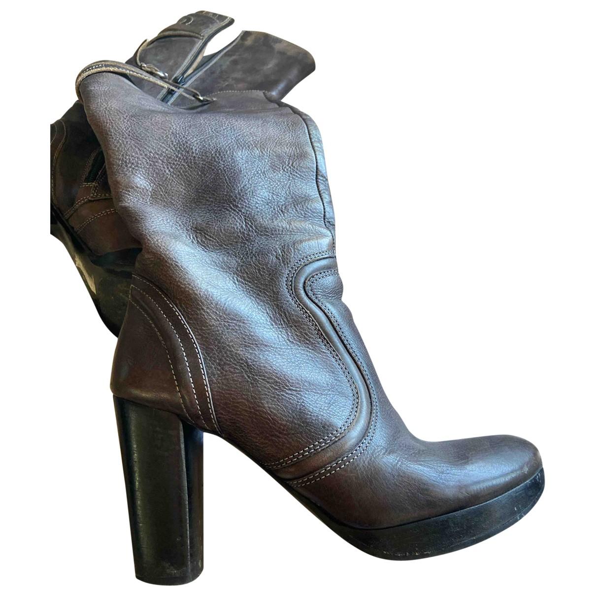 Minelli - Bottes   pour femme en cuir - gris