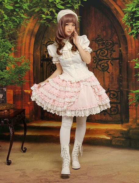 Milanoo Falda de algodon de bicolor de estilo de Lolita