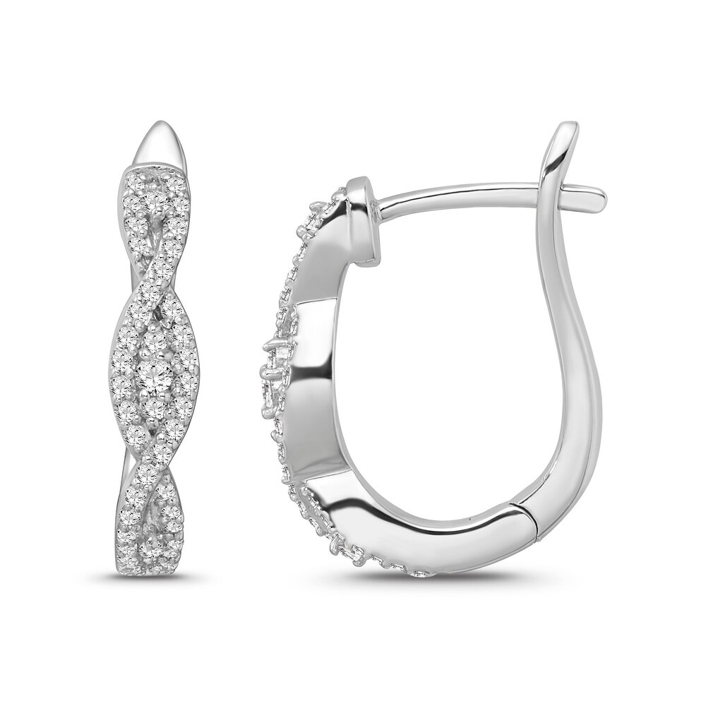 10K White Gold 1/3 Carat Diamond Hoop Earrings for Women (White)
