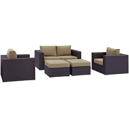 Convene Collection EEI-2158-EXP-MOC-SET 5-Piece Outdoor Patio Sofa Set with Loveseat  2 Armchairs and 2 Ottomans in