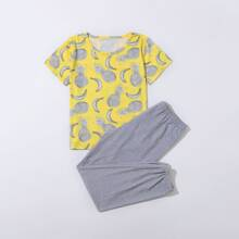 Boys Pineapple & Banana Print PJ Set