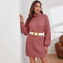 Funnel Neck Drop Shoulder Sweater Dress Without Belt