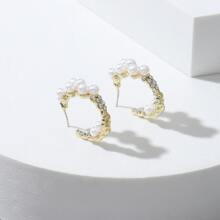 Faux Pearl & Rhinestone Decor Hoop Earrings