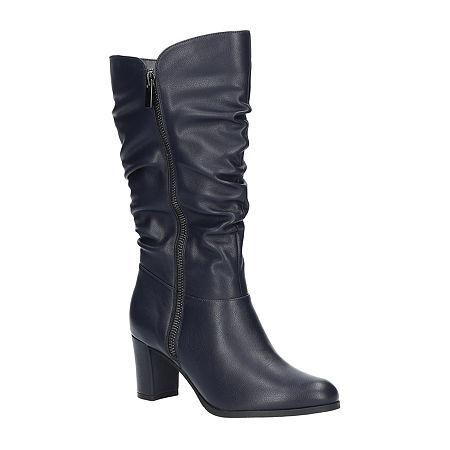 Easy Street Womens Mara Slouch Boots Block Heel, 7 1/2 Medium, Blue