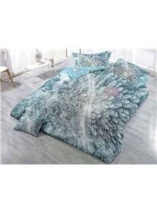 Snow-covered Trees Wear-resistant Breathable High Quality 60s Cotton 4-Piece 3D Bedding Sets