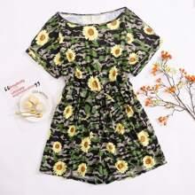 Romper mit Camo & Sonnenblumen Muster und Guertel