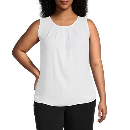 Worthington Womens Pleat Neck Shell - Plus, 3x , White