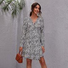 Vestidos Nudo Leopardo Elegante
