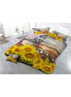 Blooming Sunflower Wear-resistant Breathable High Quality 60s Cotton 4-Piece 3D Bedding Sets