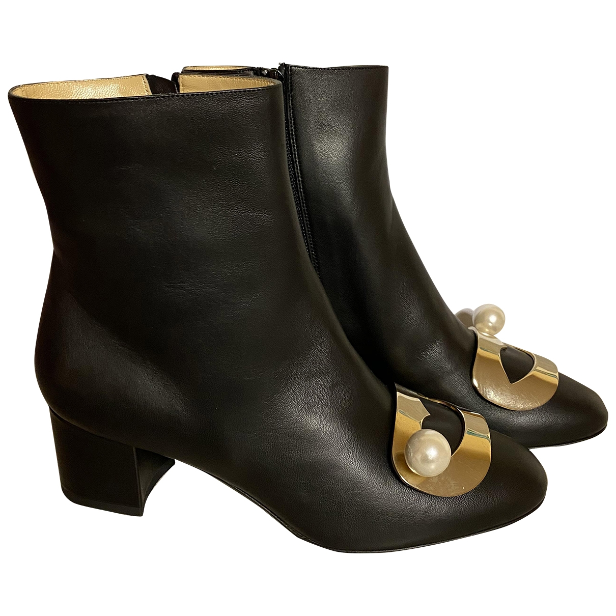 Giannico \N Black Leather Ankle boots for Women 38 EU