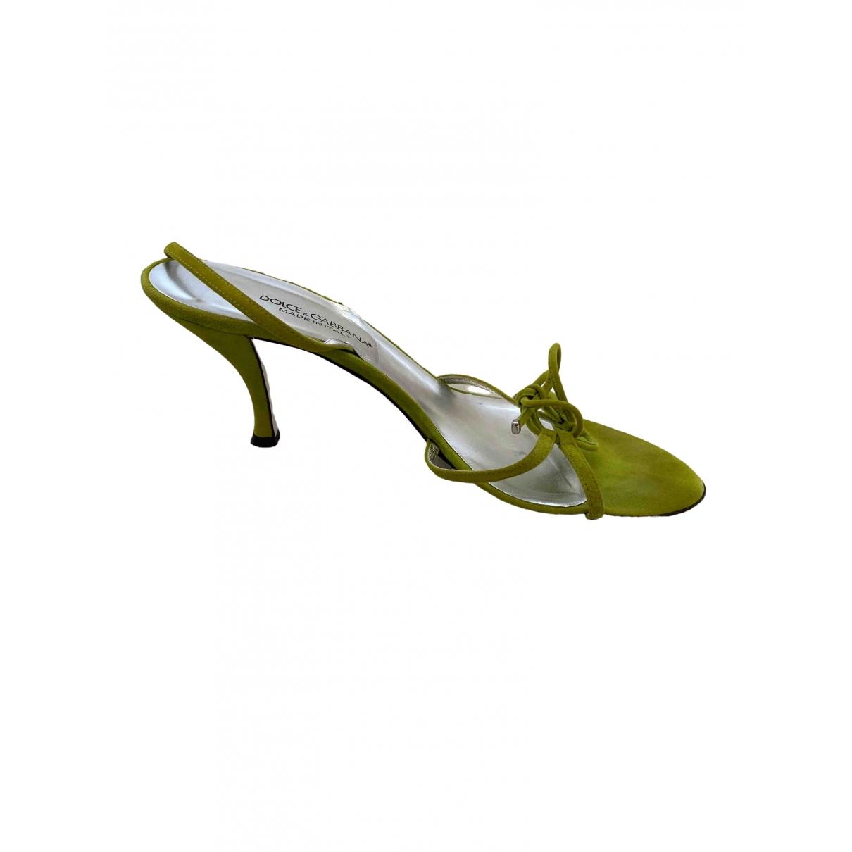Dolce & Gabbana \N Green Suede Sandals for Women 39 EU