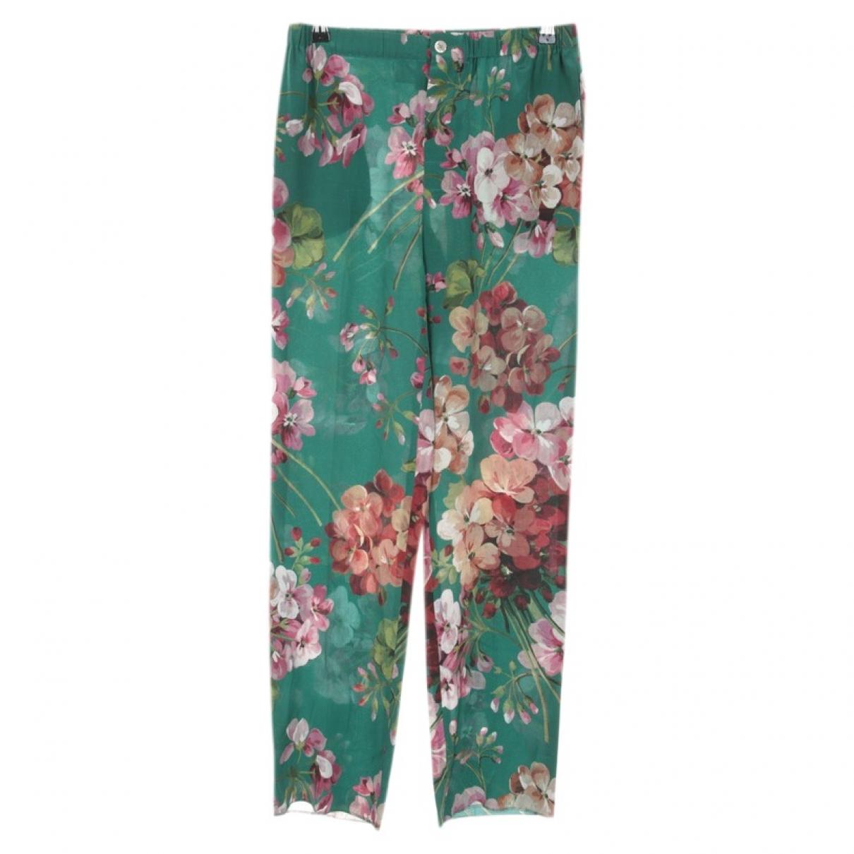 Gucci \N Green Silk Trousers for Women 38 FR