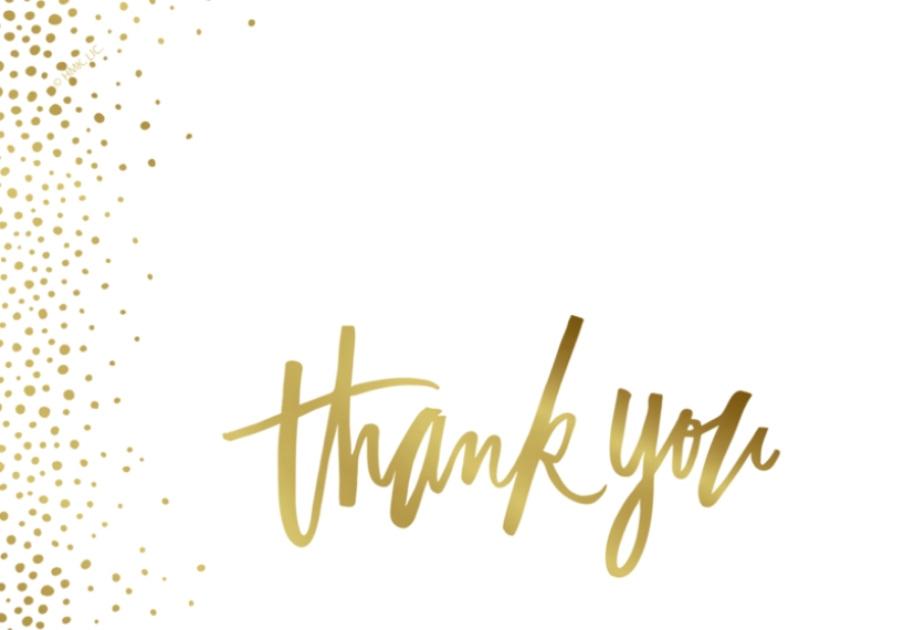 Graduation Thank You Cards 3.5x5 Folded Notecard, Card & Stationery -Gold Sprinkles Thank You by Hallmark