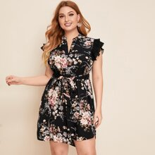 Plus Pleated Ruffle Trim Belted Floral Dress
