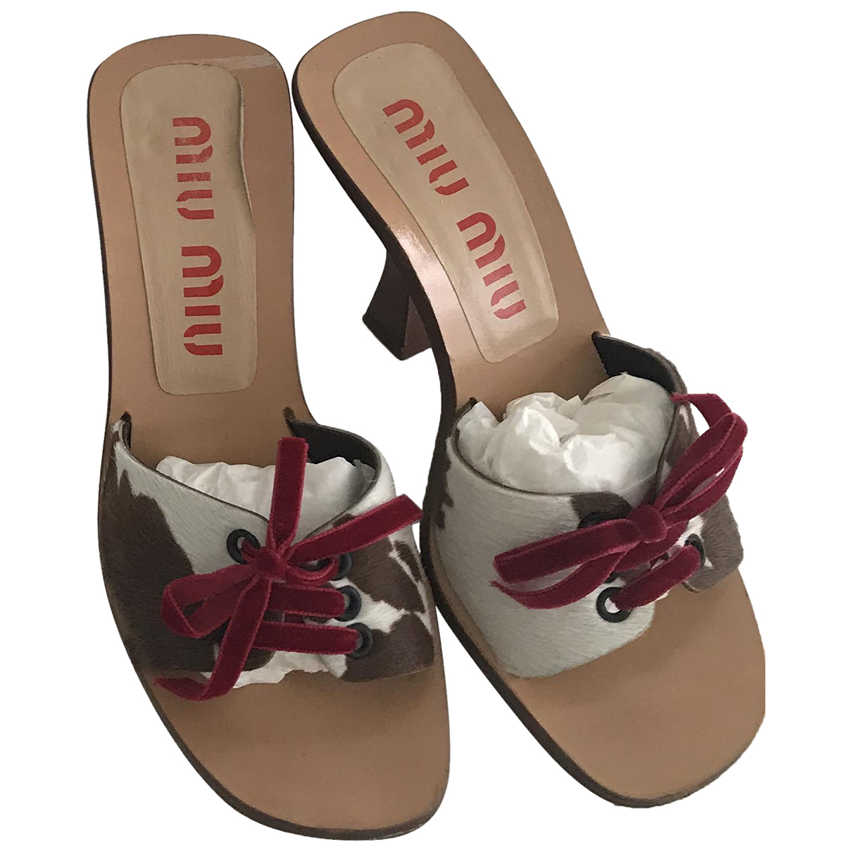 Miu Miu \N Camel Pony-style calfskin Sandals for Women 37.5 IT