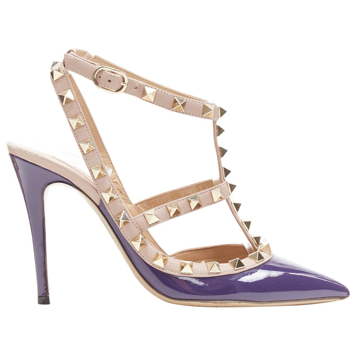 Valentino Garavani Rockstud Purple Patent leather Heels for Women 35.5 EU
