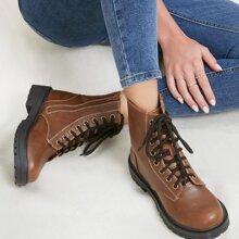 Vegan Leather Lace Up Combat Boots