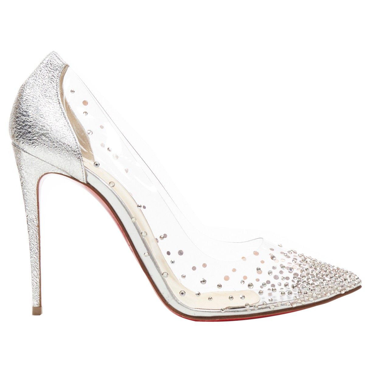 Christian Louboutin Degrastrass Silver Heels for Women 40 EU