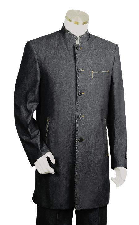 5 Button Black Denim Fabric Zoot Suit Mens