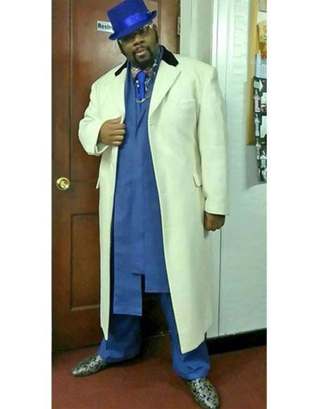 Mens Big And Tall Trench Coat Overcoat Topcoat 4XL 5XL 6XL Off White