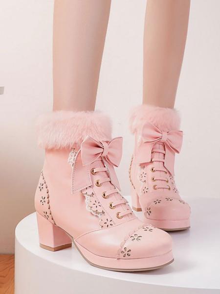 Milanoo Sweet Lolita Boots Arcos Piel sintetica Ahueca hacia fuera los zapatos de tacon grueso Lolita