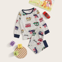 Kleinkind Jungen Schlafanzug Set mit Karikatur Auto Muster