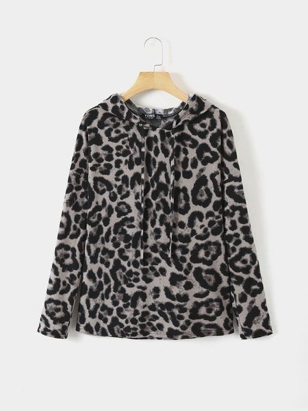 YOINS Drawstring Grey Leopard Long Sleeves Hoodie