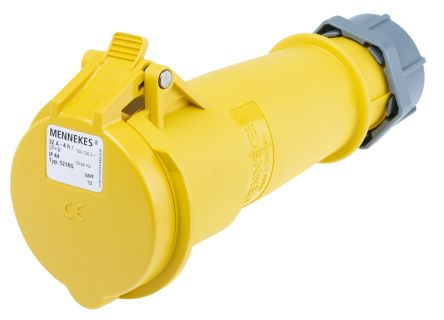 MENNEKES , AM-TOP IP44 Yellow Cable Mount 3P Industrial Power Socket, Rated At 32.0A, 110.0 V