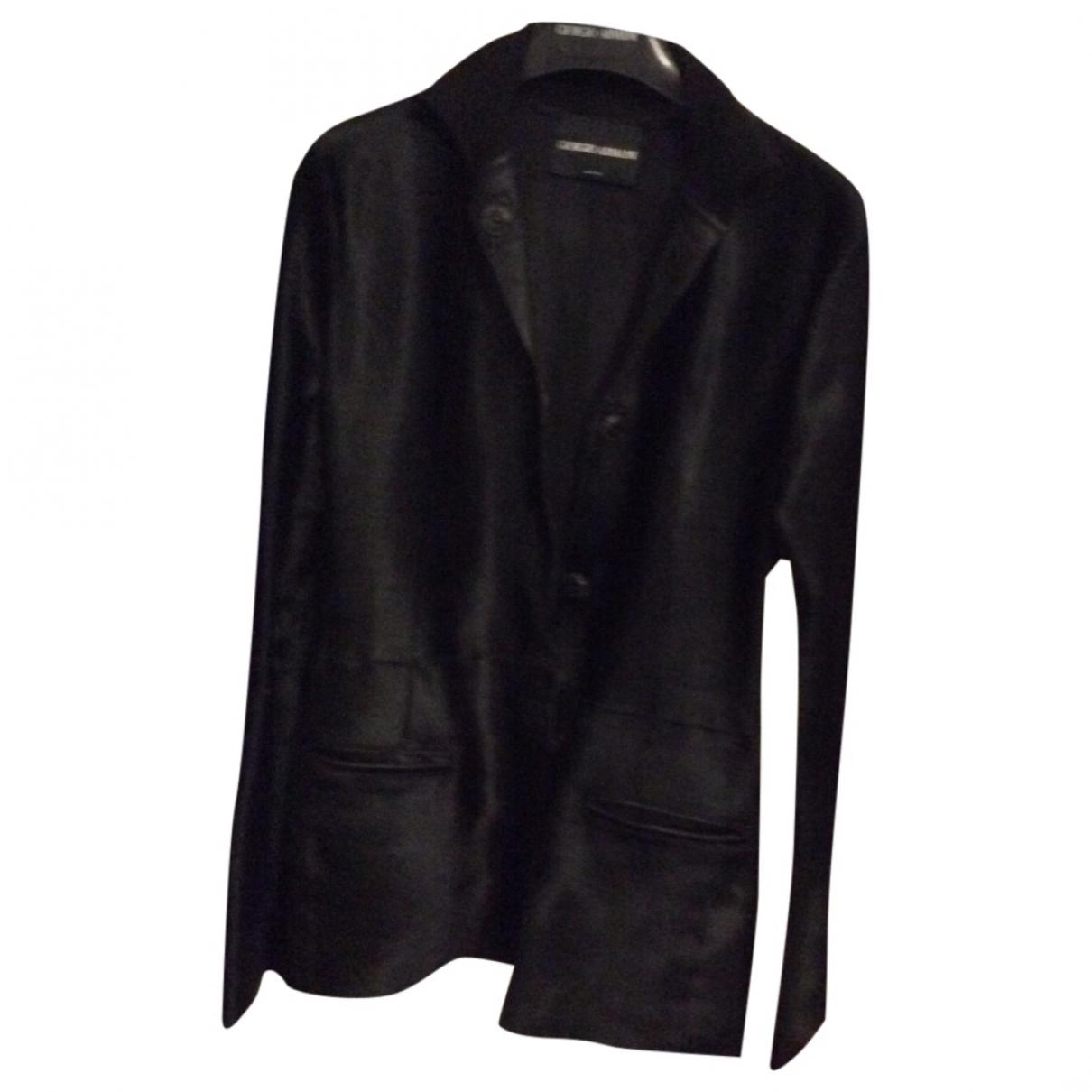 Giorgio Armani - Veste   pour femme en cuir - noir