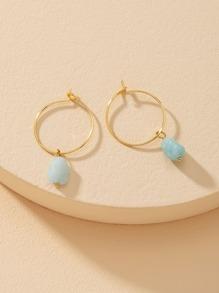 Natural Stone Charm Hoop Drop Earrings