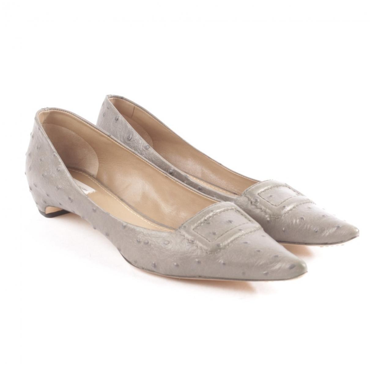 Marc Jacobs \N Grey Ostrich Flats for Women 37 EU