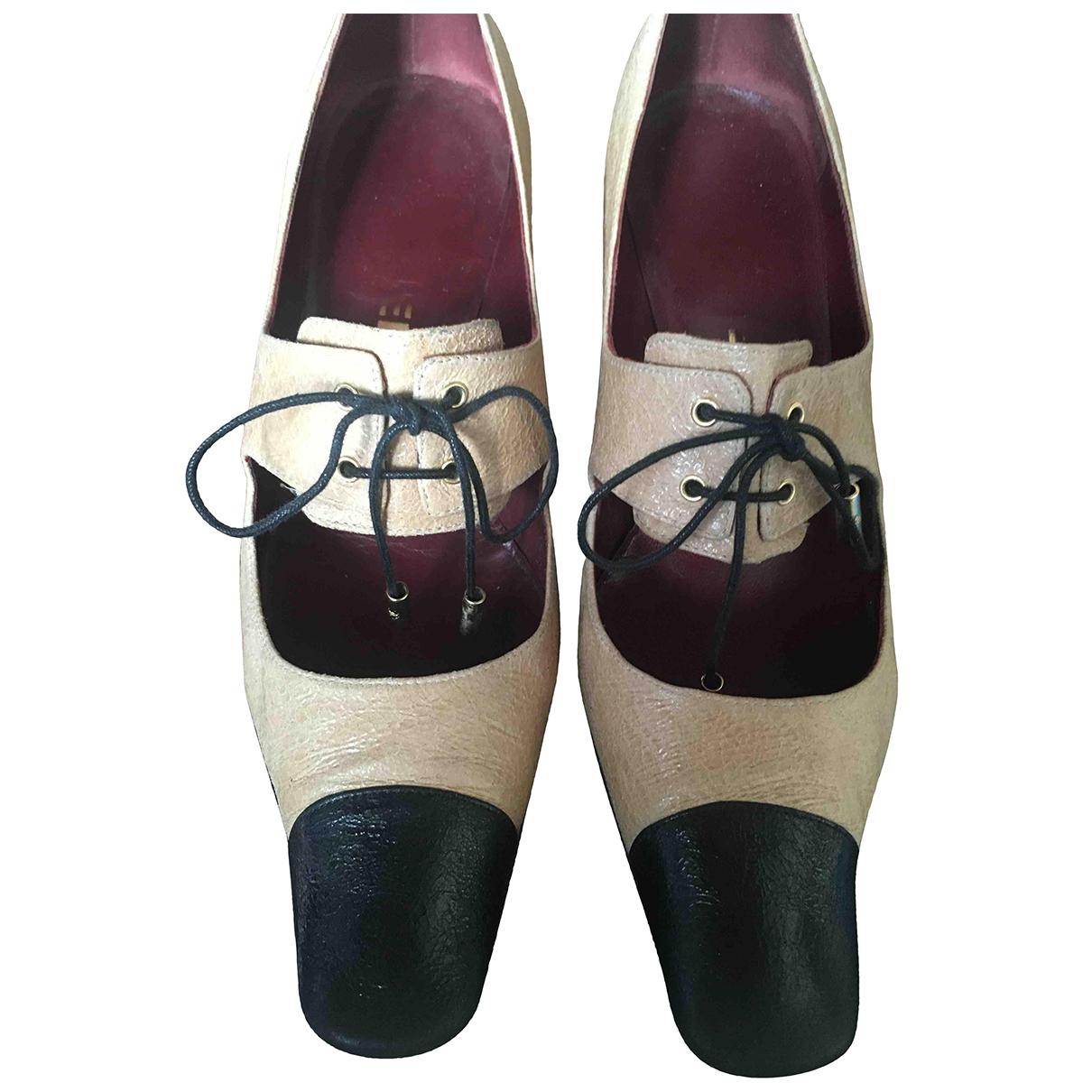 Chanel N Beige Leather Heels for Women 37.5 EU