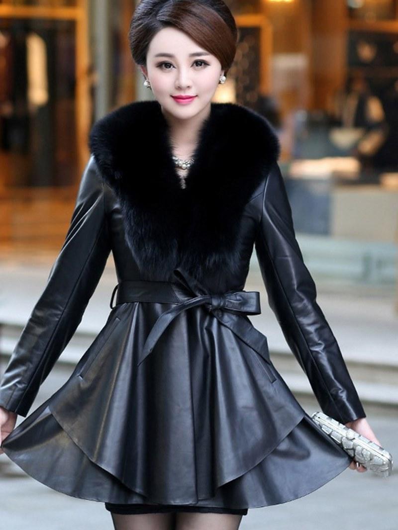 Ericdress Lapel Thick Color Block Long Sleeves Faux Fur Coat