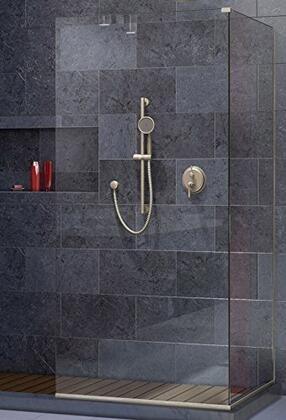 SHDR-3230343-04 Linea Two Adjacent Frameless Shower Screens 34 In. And 30 In. W X 72 In. H  Open Entry Design In Brushed