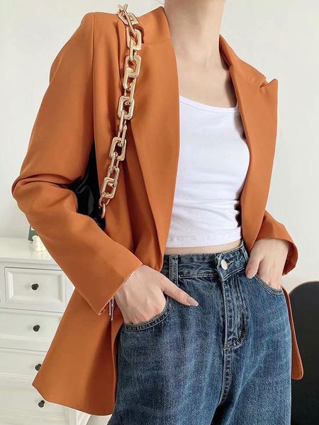 Milanoo Chaqueta casual de mujer naranja cuello vuelto manga larga blazers cortos