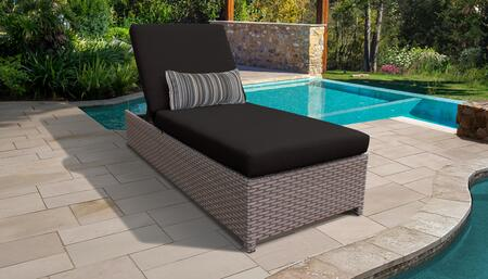 Monterey Collection MONTEREY-W-1x-BLACK Wicker Patio Chaise with Wheels - Beige and Black
