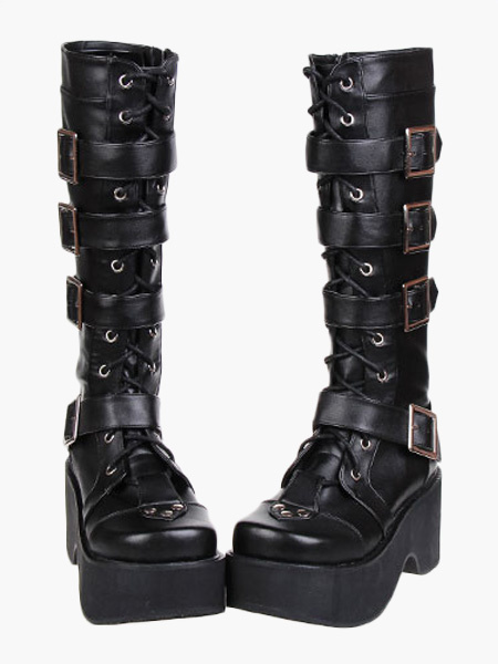 Milanoo Gothic Black Lolita Boots Platform Shoes Buckles Shoelaces