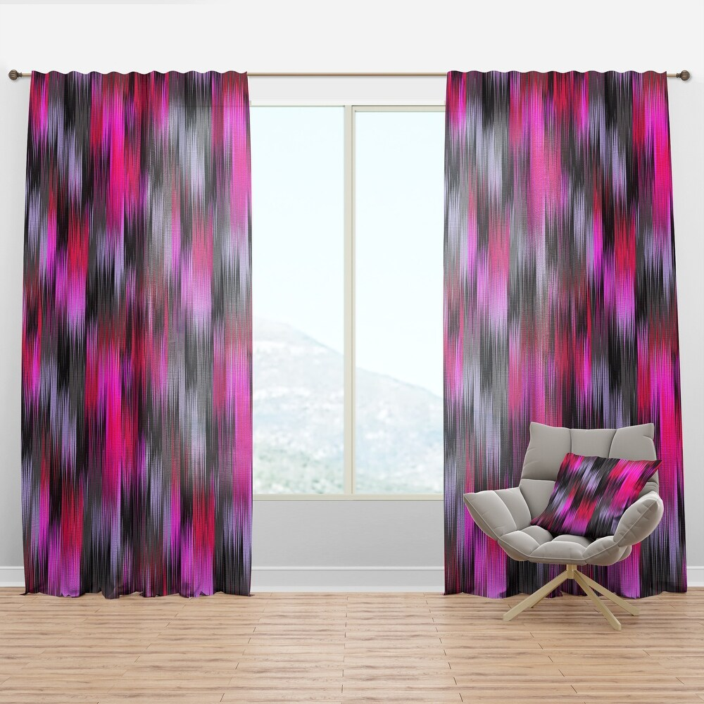 Designart 'Black And Purple Ikat' Modern & Contemporary Curtain Panel (50 in. wide x 108 in. high - 1 Panel)