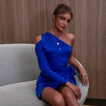 D&M Kleid mit einer Schulter, Wickel Design und Knoten