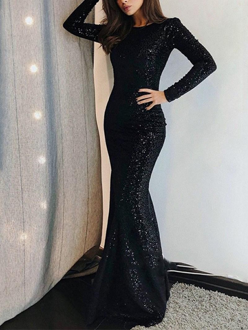 Ericdress Long Sleeves Black Mermaid Evening Dress