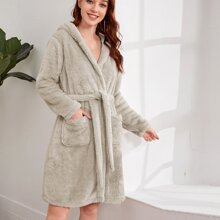 Dual Pocket Belted Plush Hooded Robe